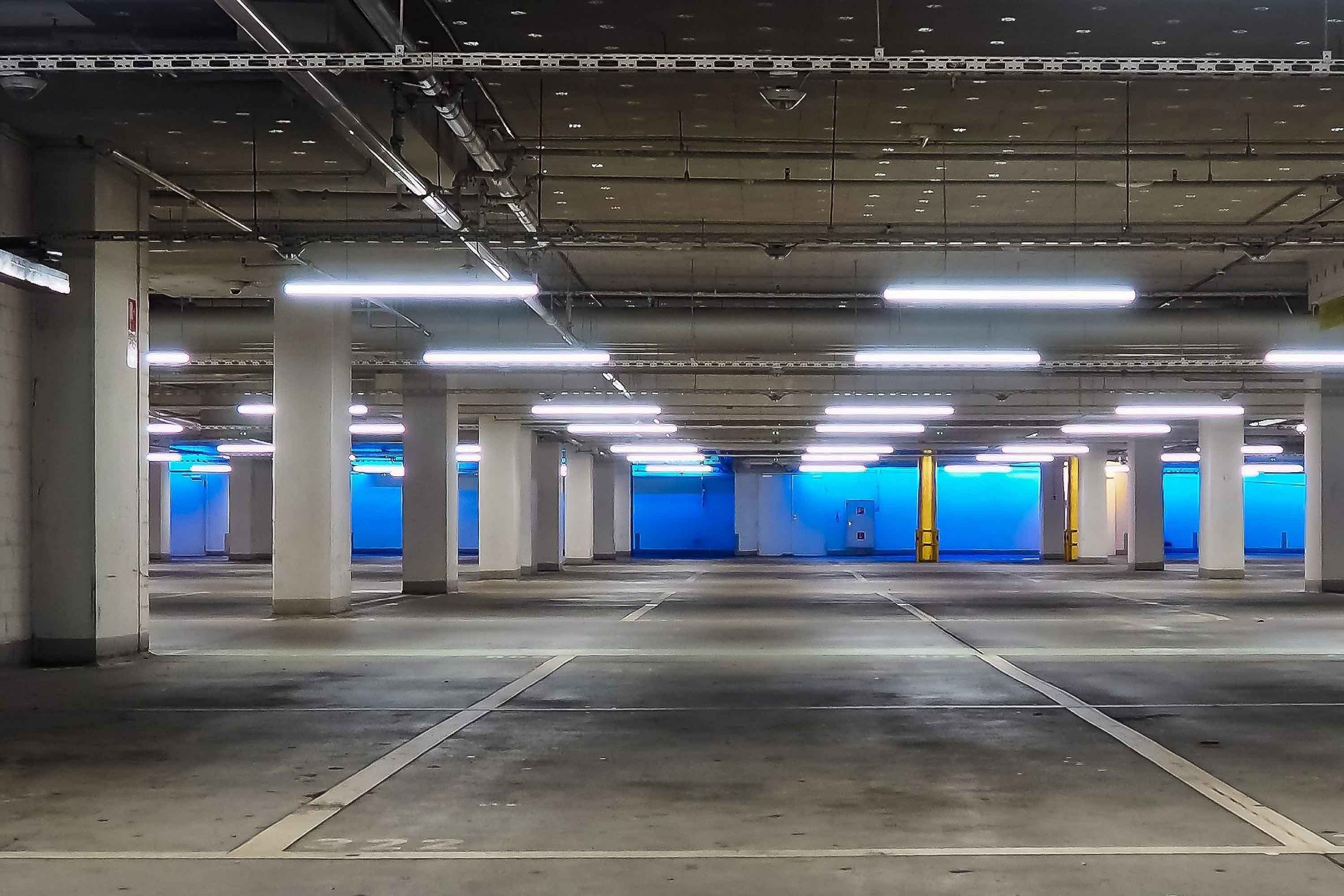 Parking with smart lighting by Mymesh